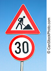Road signs - Two road signs (clipping path)