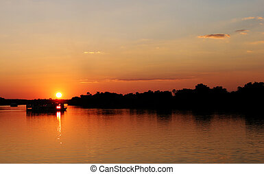 Sunset in Zimbabwe over Zambezi river - Sunset in Zimbabwe