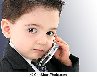 Boy Child Cellphone - Little man discussing important...