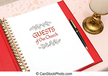 Church Guest Book 1 - a church guest book open to the first...