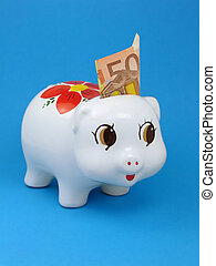 Piggy bank with euro note - Cute piggy bank with 50 euros...