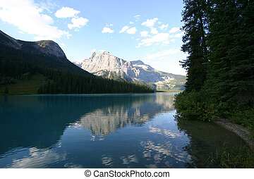 Tranquil Lake - A shot of emerald lake in alberta, canada