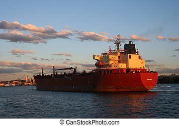 Arriving Home - A container ship taken at sunset at Syndey...