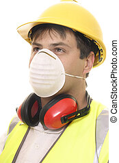 Builder or Carpenter with Face Mask - A worker wearing...