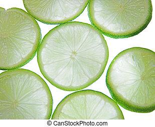 backlit lime slices - Backlit slices of fresh lime