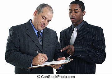 Businessmen Signing Contract Shot in studio over white