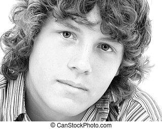 Teen Boy Portrait - Attractive Sixteen Year Old Teen Boy in...