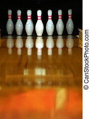 Pins - Bowling pins ready for action.