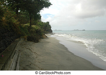 desolate beach - quiet beach with caribbean islands in the...