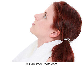 Teen Girl Profile - Beautiful young woman looking up. White...