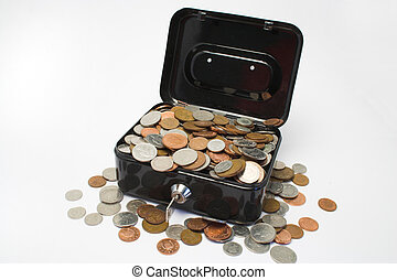 Box of money - A metal box with a key,full of coins