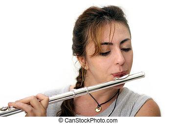 Beautiful Flutist - Beautiful woman playing flute