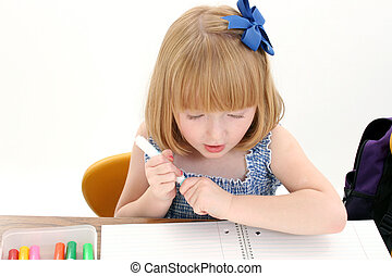 Child Girl School - Beautiful Little Girl at Desk with Box...