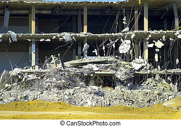 Building Collapse - Cross Section of a Building Being...