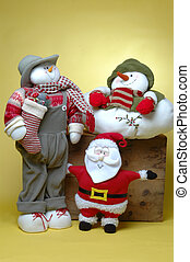 man with gifts, snowman and santa claus - santa claus with...