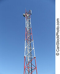 Cell and radio tower - View of a cell telecomunications...