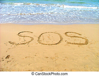 SOS - Help written in sand