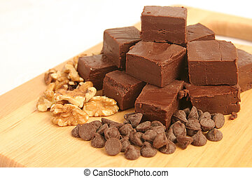 Fudge Chips & Nuts - homemade fudge on a cutting board with...