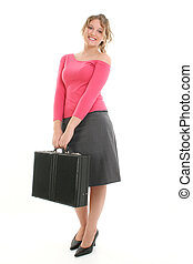 Woman Briefcase - Beautiful young woman with briefcase over...