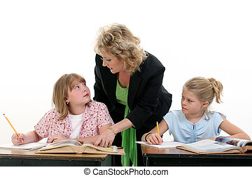 Teacher Student Kid - Teacher Helping Child in Classroom....