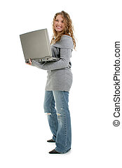 Teen Girl Laptop - Beautiful Sixteen Year Old Teen Girl With...