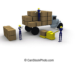 loading a truck - 3d Workers loading a truck
