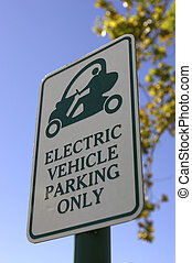 Priority parking sign for electric vehicles only in...