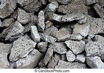 Rubble - A pile of concrete rubble left behind by...