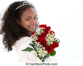 Girl Child Princess - Beautiful Six Year Old Girl With Red...