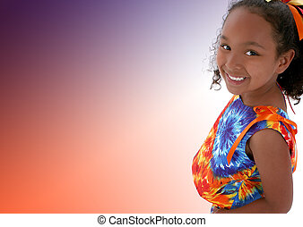Girl Child Casual - Beautiful six year old girl in bright...