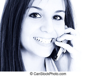 Teen Girl Cellphone - Beautiful Teen Girl Handing Cellphone...