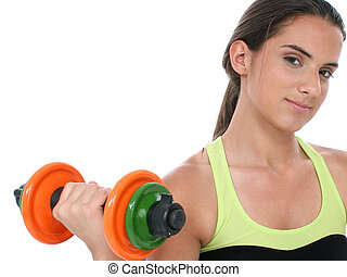 Teen Girl Fitness - Beautiful Teen Girl Holding Colorful...