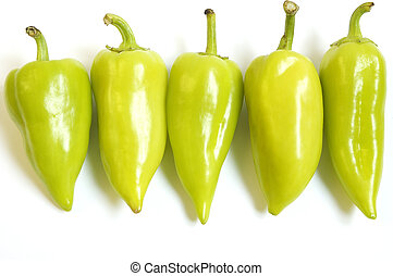 row of peppers - peppers in line