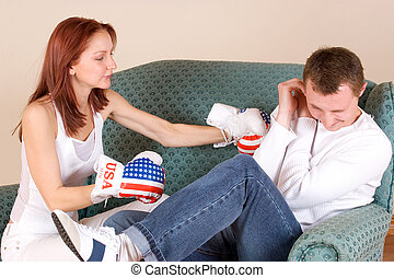 couple #42 - Woman hitting her boyfriend with boxing gloves