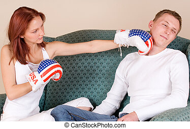 couple #44 - Woman hitting her boyfriend with boxing gloves