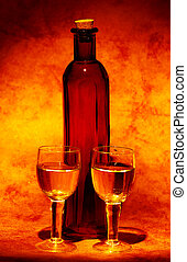 Wine Glasses and a Bottle