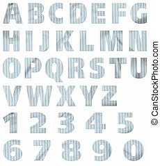 Material Alphabet: Blue Stripes - Alphabet and numbers cut...