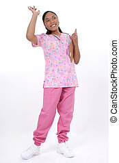 Nurse - Pediatrician or pediatric nurse waving or greeting...