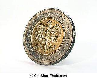 Coin closeup - Poland coin closeup view