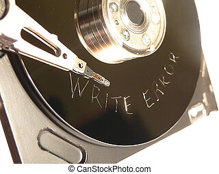 Write Error scratched on Hard drive surface - Hard drive...