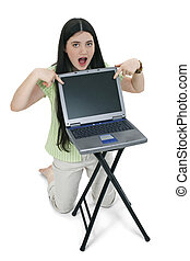 Tween Girl Laptop - Beautiful Tween Girl with long black...