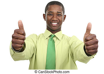 Business Thumbs Up - Businessman with Two Thumbs Up Focus on...