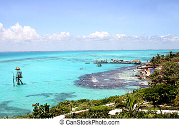 Caribbean View - Isla Mujeres off the Yucatan coastin Mexico...