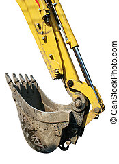 Backhoe Isolated - The forearm and scoop of a yellow...