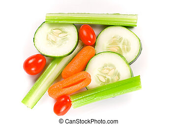 Wet veggies - Isolated shot of wet vegetable sticks on a...