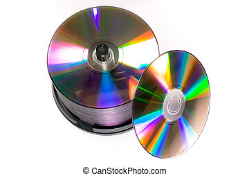 Stack of generic DVD recordables - A cake box/spindle of...