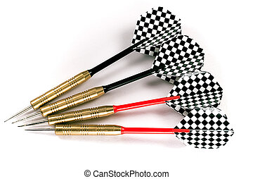 Four black and red darts - Four darts with black and red...