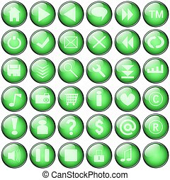 green web buttons collection
