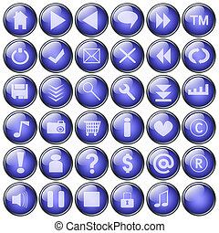 blue web buttons collection