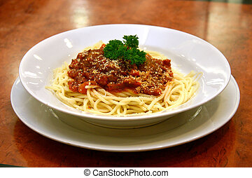 Meatball spaghetti - Spaghetti with beef meatballs in rich...